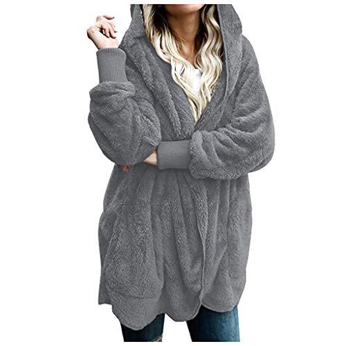 Veste A Capuche Femme Fourrure Manteau Hiver Chaud A Manche Longues Grand Taille Long Hoodies Chic Mode Sweat Pas Cher Capuche Cardigan