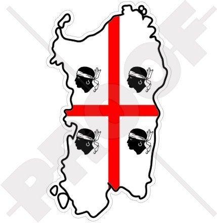 SARDINIEN Sardische Karte-Flagge ITALIEN Sardinien Italienisch 110mm Auto & Motorrad Aufkleber, Vinyl Stickers
