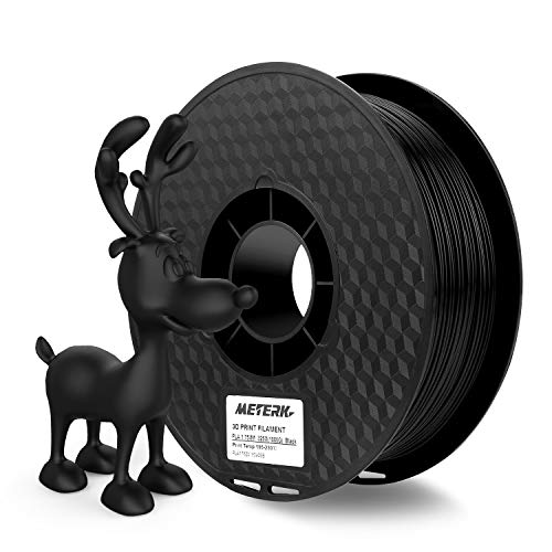 3D Printer Filament, Meterk 1.75mm PLA Filament Refills 1kg/Roll 2.2LBS 1kg Spool for MakerBot ANET RepRap 3D Printer (Black)