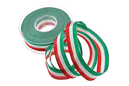 Christa-Bänder Uni Nationalband Italien Grün Weiß Rot ohne Draht 25mm