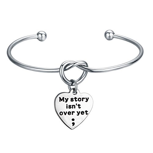 My Story isn't Over Yet Bracelet with Tie the Knot Cuff Mental Health Awareness Jewelry (my story knot)