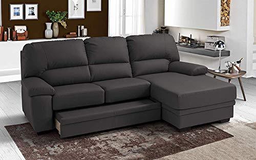 Dafnedesign.Com - Sofá cama de 3 plazas con chaise longue a la derecha, color gris oscuro, 252 x 160 x 92 cm.