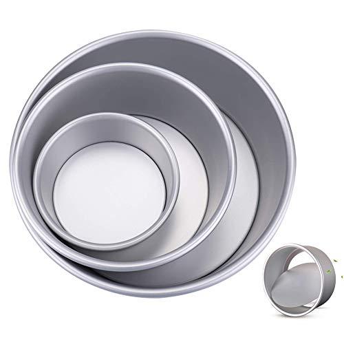 HOTSO Molde Bizcocho Desmontable, 3 PCS? Moldes para Tartas Recto Aluminio, Bases para Pasteles Redondos, Conveniente para Cumpleaños, Festivales, Bodas, Fiestas, Vida Cotidiana(4/6/8 Pulgadas)