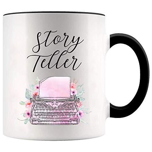 YouNique Designs Writer Coffee Mug, 11 Ounces, Storyteller Mug, Author Gifts for Women (Black Handle)