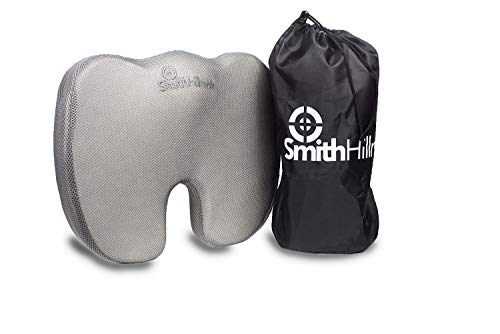 Smith Hillman Coccyx Orthopaedic Memory Foam Seat Cushion – Relief from Sciatica Pain, Lower Back Pain & Coccyx/Tailbone Pain | Medium Firm Option | Handy Carry Bag (Grey)