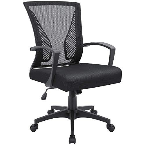 Office Mid Back Mesh Chair Ergonomic Swivel Lumbar Support Desk Computer Chair (Black)