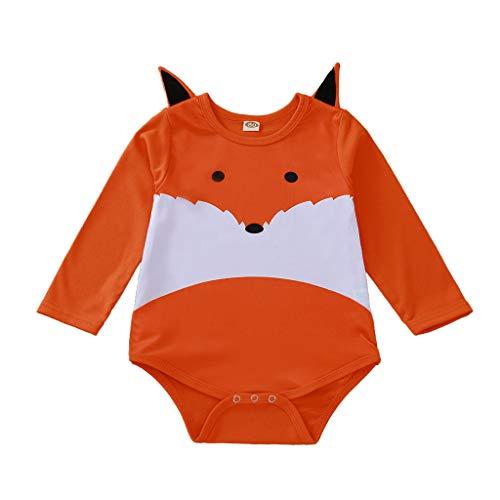 Topkeal - Pelele de manga larga para niña, diseño de zorro con lunares naranja 74 cm