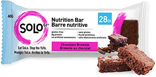Chocolate Brownie, Low Glycemic Protein Bars, Gluten Free, Slow Release Energy, Weight Management, Bars for Pre and Post Workout 10-12 Grams of Protein, 40-50g per Bar, 1 Box of 12 Bars -Solo Bars