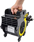 JEGS Portable 3-Speed Blower Fan | Black With JEGS logo | 2 Built-In 15-Amp Grounded Outlets | 8–Foot Power Cord | Up to 300 CFM Airflow | Made From Lightweight Durable ABS Plastic