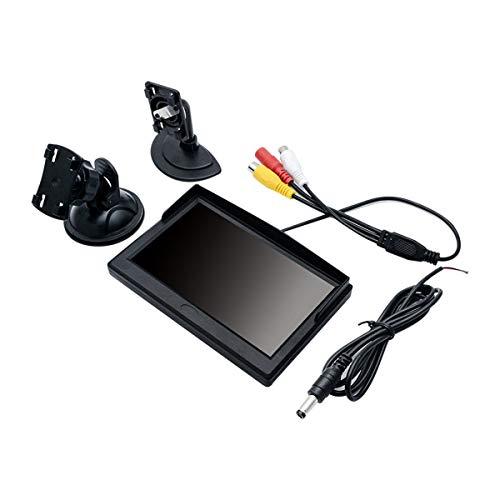 MASO Moniteur numérique TFT LCD pour voiture 800 x 480 Écran de rétroviseur avec deux supports et deux entrées vidéo 12,7 cm