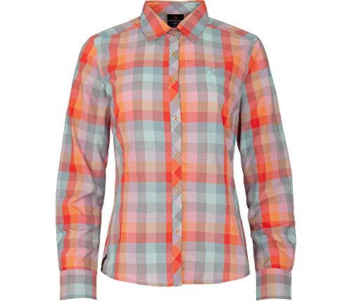 Bergson Dames functionele blouse Taimi - geruit - vrouwelijke snit - sneldrogend - versterkte zonnekraag - brillenpoetsdoek - geurremmend uitgerust