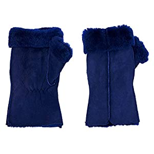 Justin Gregory Shearling Fingerless Womens Gloves