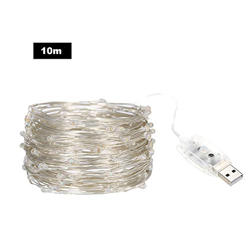 32.81ft/10m 100 LEDs Sound Activated Music String Lights 5V USB Powered 12 Lighting Modes with Remote Timer Function Dimmable 5 Brightness Levels LEDs Silvery Wire Fairy Lights for Home Wall Garden