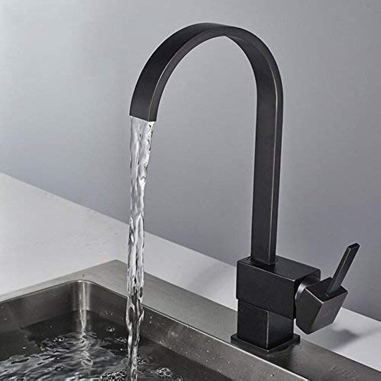 Giow 360-Grad-Drehung Alle Kupfer Küchenarmatur heien und kalten Mischwasser Jet schwarz Waschbecken Wasserhahn Quartett