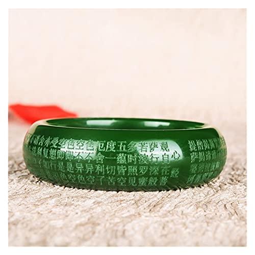 Natural Verde Tallado Tallado Ancho corazón Sutra Jade Pulsera Moda Boutique joyería Tendencia Hombre y Mujer Budista Sutra Pulsera Malvado espíritu Dinero Dibujo Riqueza (Color : 56-58)
