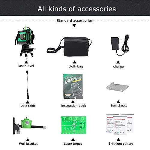Laser 25M, Kreuzlinienlaser 3 x 360 grüner Laserpegel selbstnivellierend, grüner Strahl 3D 12 Linien, IP 54 Linienlaser Vertikale und Horizontale Linie (inklusive 3pcs Batterie) - 6