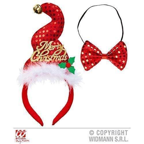 Lively Moments Ausgefallene Weihnachtsmütze auf Haarreif mit passender Fliege