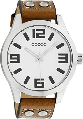 Oozoo Armbanduhr Basic Line mit Lederband 47 MM Weiß/Cognac C1051