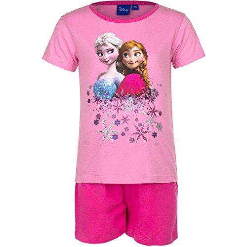 Disney Frozen - Die Eiskönigin Kurzarm Schlafanzug für Mädchen mit tollem Eiskönigin-Motiv (110, Rosa)