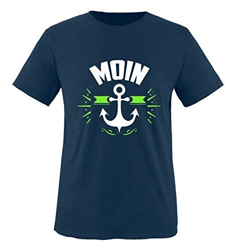 Comedy Shirts - Moin - Anker - Jungen T-Shirt - Navy/Weiss-Neongrün Gr. 152/164