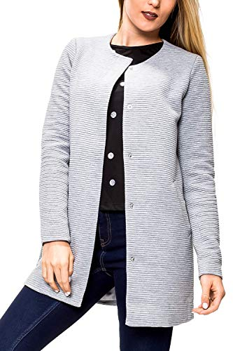 ONLY Damen Übergangsmantel Kurzmantel Leichte Jacke Chic Business Coat (L, Light Grey Melange)