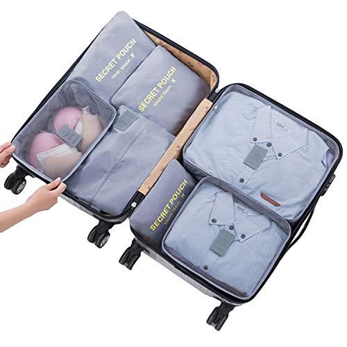 DaMohony Reise-Aufbewahrungstaschen, Reisegepäck-Organizer, Kleidersortierung, Packwürfel, 7 Stück, grau (Grau) - 1536302/120814UKRTF