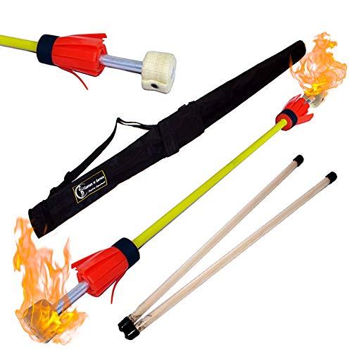Feuer Flowerstick - Pro Fire Flower Stick Set mit Silikon beschichteten fiberglasshandstäbe + Flames N Games Reisetasche!