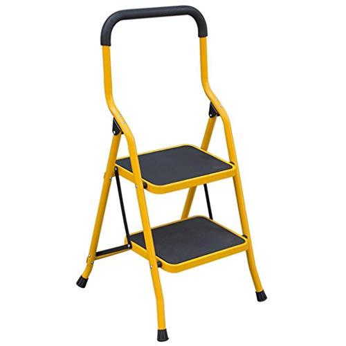 Escabeau d'escalier en métal de ménage Tabouret d'escalier pliant d'escalier en métal Escabeau (Color : Yellow, Size : 3 layer)