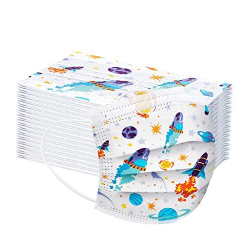 MOTOCO Kinder 10/20/30/40/50/100 Pcs Face Cover Mund-und-Nasenschutz Atmungsaktiv Bandanas Sonnenschutz Outdoor Essentials für Schule(Blau100)