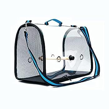 skrors Cage de transport pour animaux de compagnie - Sac à dos respirant avec perchoir - Taille L - Bleu