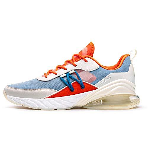 ONEMIX Herren Damen Laufschuhe Air Sportschuhe Straßenlaufschuhe Sneaker für Herren Damen Weiß Orange 1521 JHHL 46