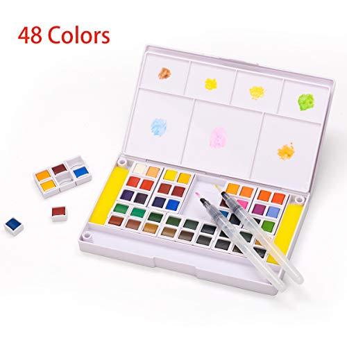 Aquarellfarben Set - 48 kräftige Aquarell-Farben-Set - Wasserfarben Set - Aquarellfarbkasten inkl. 48 Wasserfarben, 2 Wassertankpinsel, 2 Schwamm - Malkasten für Anfänger und Profis