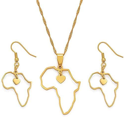 BACKZY MXJP Collar Mapa De Corazón Africano Colgantes Collares Y Pendientes Mapas De África Conjuntos De Joyas Adornos Étnicos Africanos De Acero Inoxidable Collar