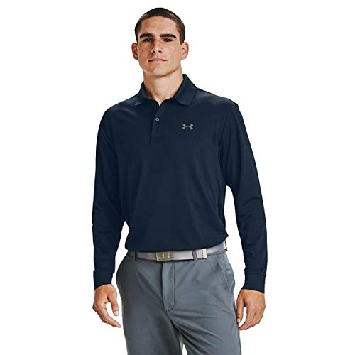Under Armour Polo à Manches Longues Performance Textured Polo Homme Academy//Pitch Gray (408) FR: S (Taille Fabricant: SM)