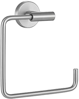 JQK Towel Ring, Stainless Steel Square Ring Towel Holder for Bathroom, 6 Inch Brushed Finished Wall Mount, TR140-BN