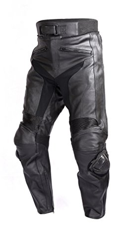 Wicked Stock Mens Motorcycle Race Leather Pants Black with CE Rated Armor and Sliders PT51 (2XL)