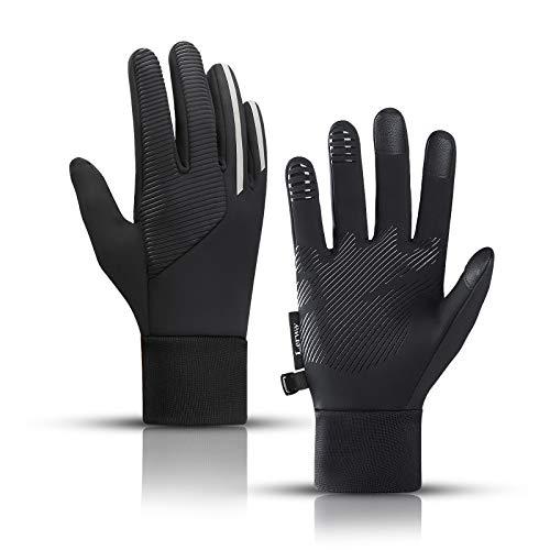 LERWAY Winterhandschuhe Winter Warme Handschuhe Herren Damen Sport Winddichte Handschuhe MTB Handschuhe Fahrradhandschuhe Schwarz zum Radfahren, Laufen, Fahren, Joggen, Skifahren, Wander (M)