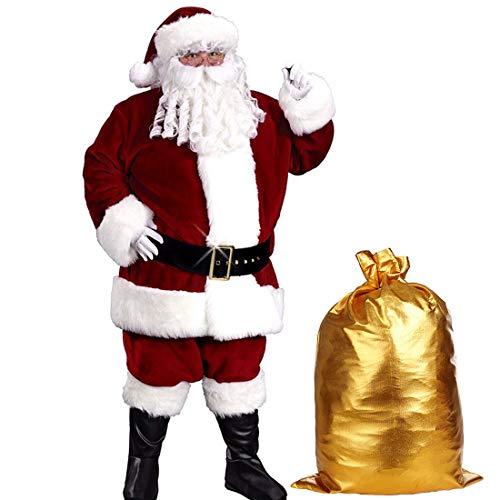Christmas Santa Claus Costume Set Men's Santa Costume Deluxe Santa Suits (Onesize, Wine Red)