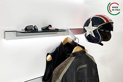 ALUCABINA Decoración horizontal con una estantería de cristal, una barra perchero inclinada, un porta casco de moto y una barra porta utensilios L.100 cm. Producto artesanal fabricado en Italia.