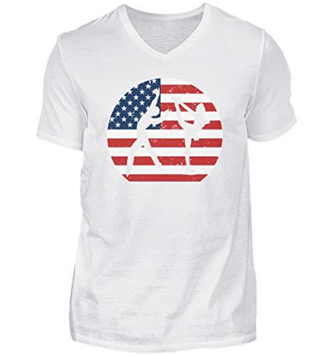 Camiseta de manga corta con cuello de pico para hombre de EE. UU.