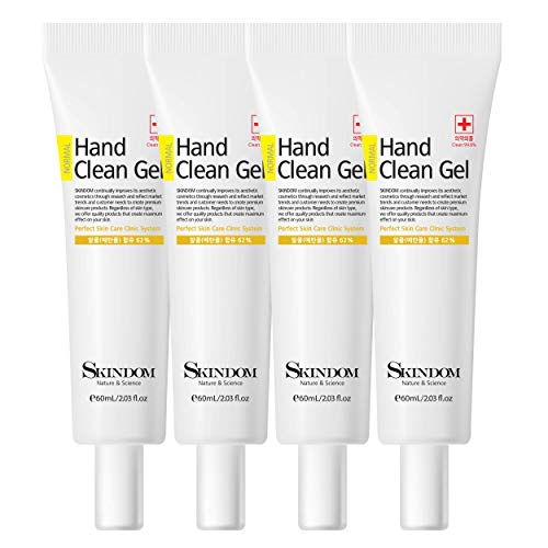 Hand Sanitizer Clean Gel with Aloe Vera and Moisturizing Agents, Kills 99.99% of Germs, (4 Pack x 2 Fl Oz)