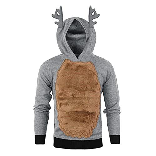 WXZZ Sudadera con capucha para hombre con cuernos de reno, diseño navideño, para cosplay, de forro polar, manga larga y costuras de terciopelo, informal, con capucha de cuernos, gris, M