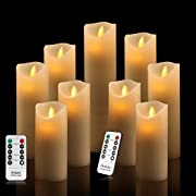 Antizer Flameless Candles Ivory Dripless Real Wax Pillars Include Realistic Dancing LED Flames and 10-Key Remote Control with 24-Hour Timer Function 400+ Hours by 2 AA Batteries