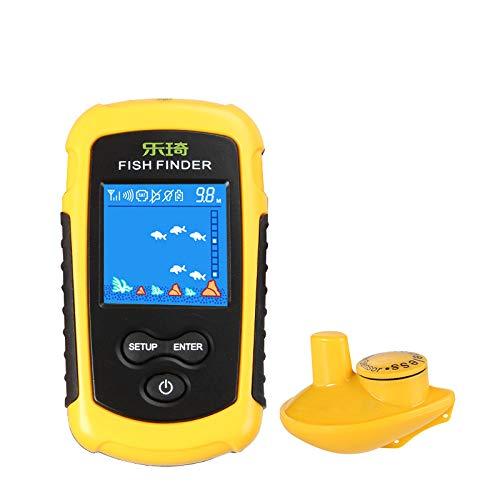 HHY Fischfinder Wireless Tiefsee-Fischdetektor Tragbarer Intelligenter Tiefenfinder Angeln Sonar Sensor LCD Tiefe Finder Echolot für Angler