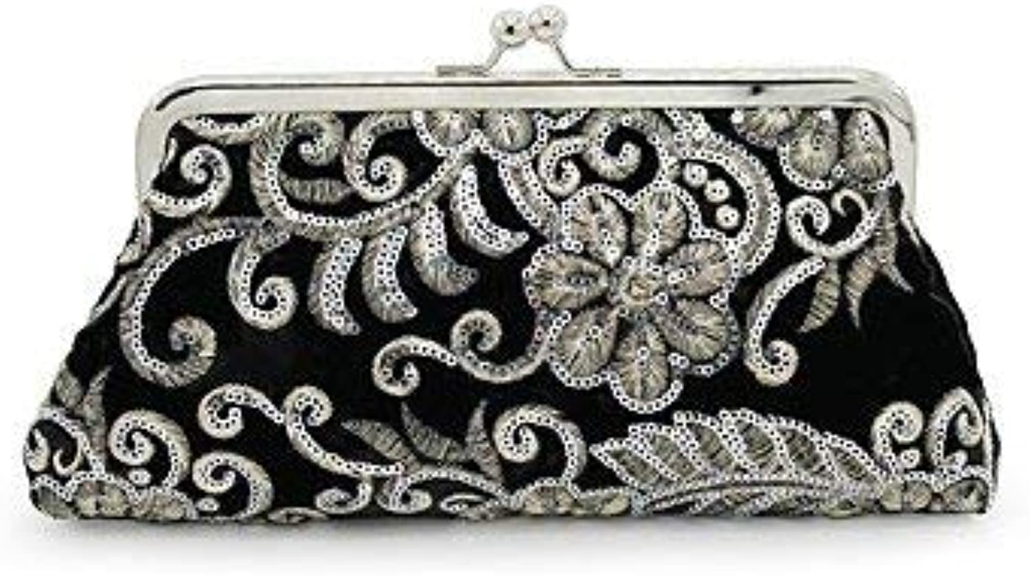 Evening Bag Women;S Evening Bag Embroidery for Wedding Event Party All Seasons Black Red Royal bluee Party Handbag (color   Black)