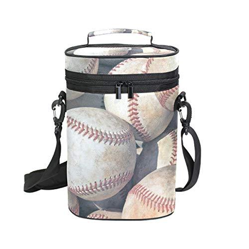 FANTAZIO Retro Baseball isoliert, auslaufsicher, gepolstert, für 2 Flaschen Weinflaschen, Tragetasche für Reisen, Camping und Picknick