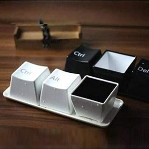 DYTJ-Mugs Kreative Tasse Tee Tasse Set Tastatur Tasse Mode Tassen Schwarze Farbe (Strg Del Alt) 3 Stück/Tassen Werbegeschenke, Schwarz