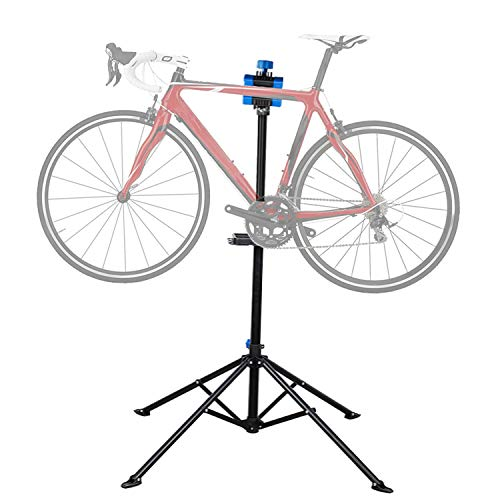 Flexzion Bike Repair Stand Workstation, Bicycle Maintenance Workstand, 41'-75' Adjustable Foldable Cycle Rack, Lightweight, w/Tool Tray, Telescopic Arm & 4 Feet Base for Home Mechanic Workshop