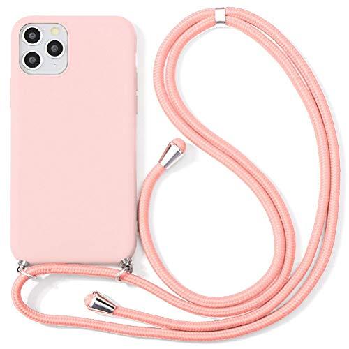 Eouine Capa transversal para Xiaomi Mi CC9 [16,2 cm] – Cordão de pescoço com capa Mi CC9 – Alça ajustável de TPU de silicone rosa antiarranhões – Rosa