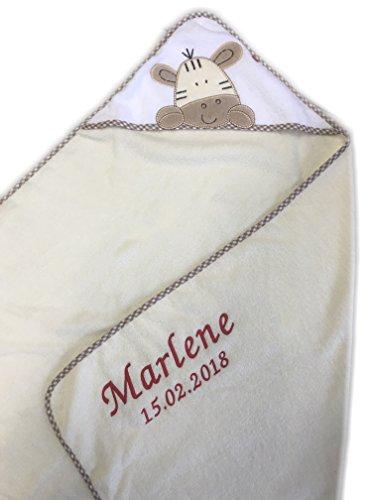 Kapuzenhandtuch bestickt mit Name und Geburtsdatum / 100x100 cm/kuschelig weich / 1A Qualität / 100% Baumwolle (Beige - GIRAFFE)